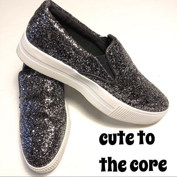 Cute to the Core Shoes - Cute to the Core platform slipon glitter sneaker 7